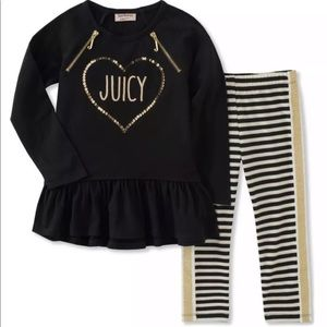 Juicy Couture Girl's Tunic Top and Leggings Sz 6